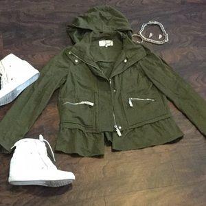 NWOT Zara TRAFALUC Olive Green Peplum Jacket